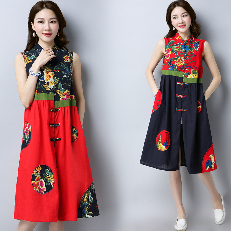 Summer Dress 2019 New Vestido Casual Sleeveless Printing Dresses Women Chinese Style Cotton Linen Vintage Dress Ladies Sundress in Dresses from Women 39 s Clothing