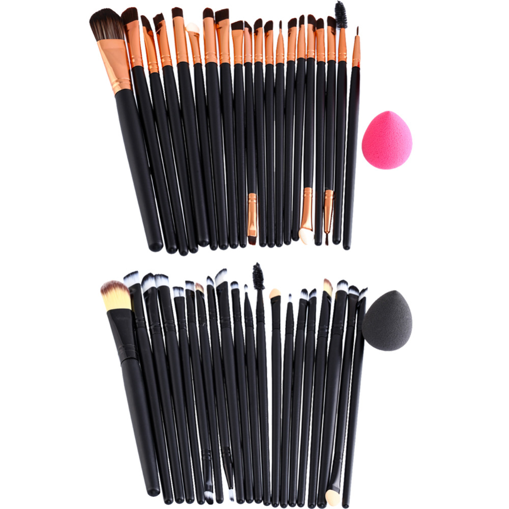 20Pcs Makeup Brushes Set  Foundaton Powder Blusher Eyeshadow Eyelash Brush Cosmetic Brushes+1Pcs Sponge Puff  Puff Makeup Kit candy color calabash shaped cosmetic makeup cotton pads sponge puff pink