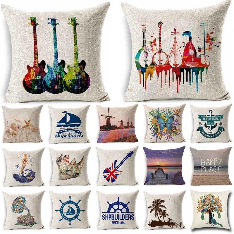 1Pcs 45*45cm Animal Music Sea Series Pattern Cotton Linen Throw Pillow Cushion Cover Car Home Sofa Decorative Pillowcase 40252