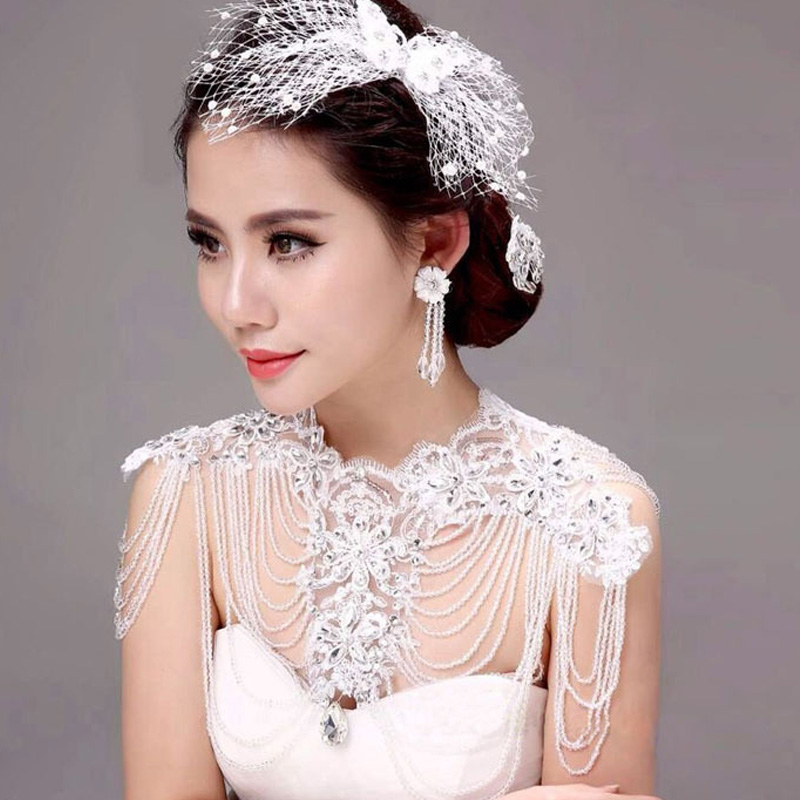 Fashion crystal vintage shoulder chain bridal necklace wedding jewelry vintage pearl wedding jewelry accessories lace necklaces цена