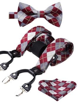 ,Men Suspenders Plaid Party Wedding Various Classic 6 Clips Pre-Tied Bow tie Pocket Square Set  Y Shape Adjustable Braces S01