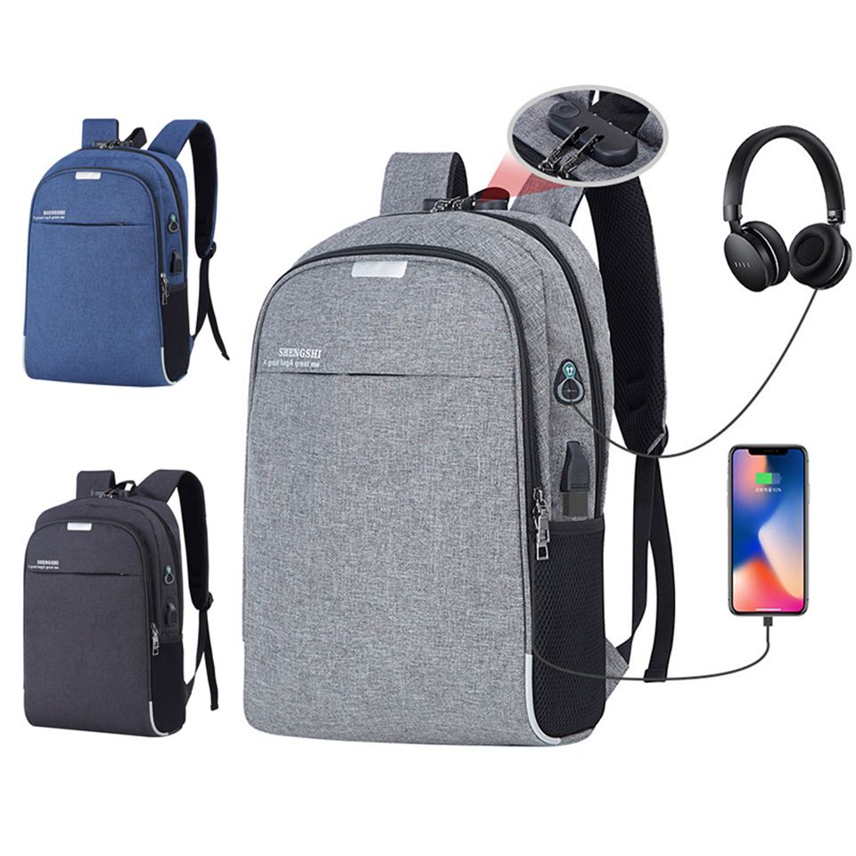 Anti Theft Backpack School Backpacks Laptop 15.6 Inch Men Male Bagpack USB Charging Teenagers Student Notebook Music Travel Bags