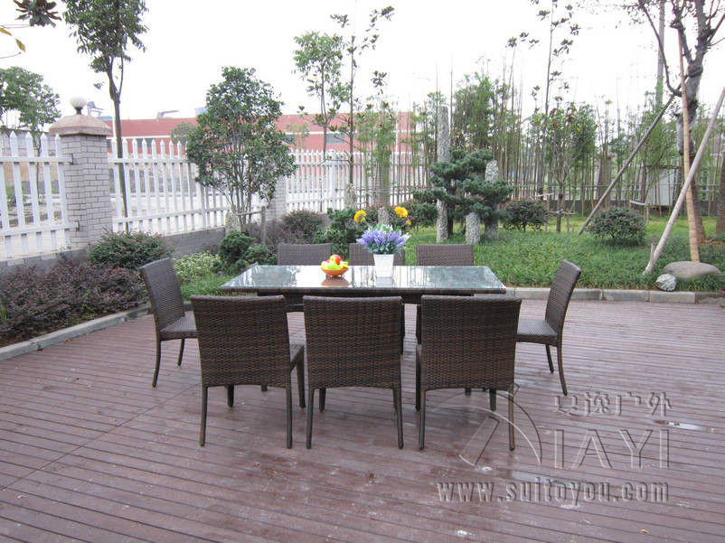 9 pcs Dark Brown Rattan Garden Dining Sets With Table And 8pcs Armless Chair transport by sea купить