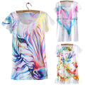 2016 New Women Vintage Summer Short Sleeve Horse Graphic Printed T Shirt Tee Tops