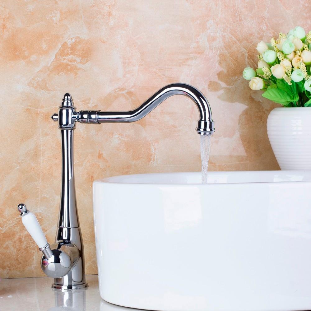 Single Handle Deck Mount Kitchen Sink Faucet Basin Swivel 360 Chrome Mixer Tap Faucet JN8485