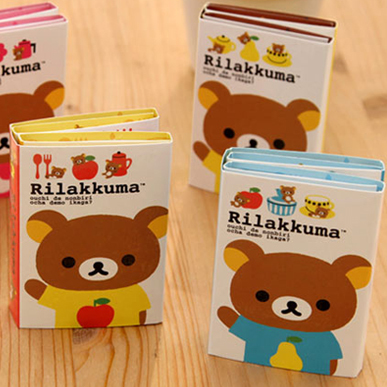4 pcs/Lot Rilakkuma memo pad Cute bear sticky notes Folding post it stickers Stationery office accessories School supplies 1pc lot cute rabbit design memo pad office accessories memos sticky notes school stationery post it supplies tt 2766