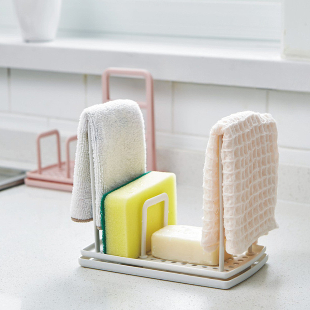 Kitchen Organizer Dish Cloths Drain Rack Clean Sponge Holder Rag Storage Hanger Eco Friendly Plastic Drainer Shelf(China)