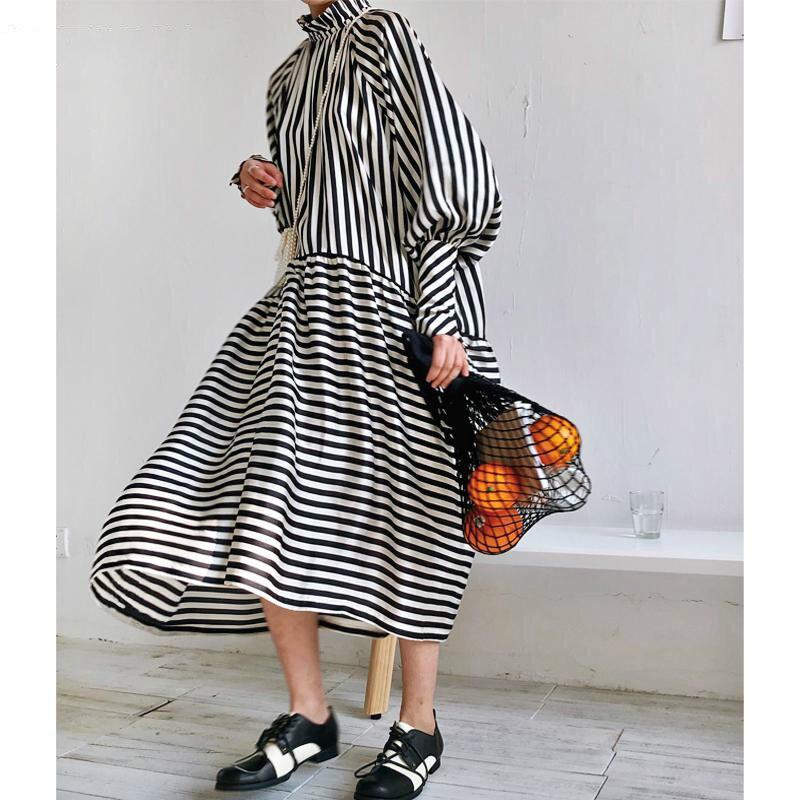 TVVOVVIN Women Dress Lantern Sleeve Standing Collar Stripe Cotton Dresses Color Matching Plus Size Long Summer