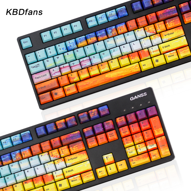 все цены на KBDfans GalaxC pbt All over Dye-subbed keycap set pbt side printed keycap for cherry mx usb wried Mechanical keyboard онлайн