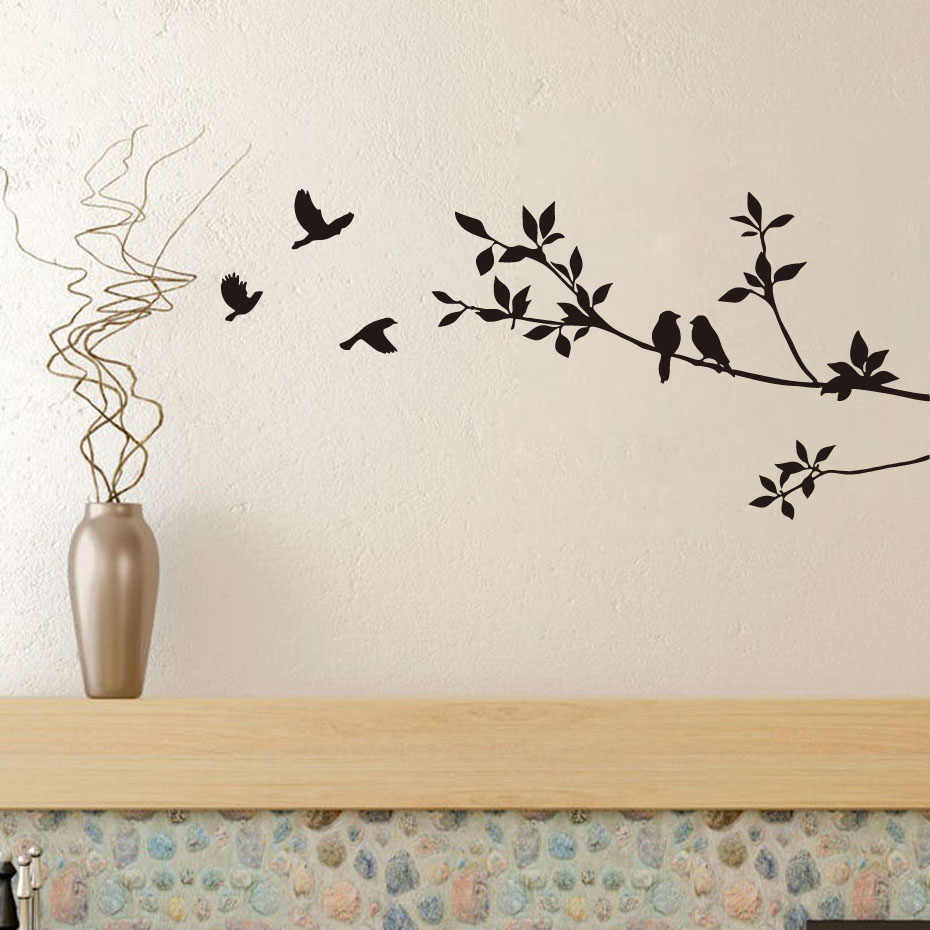 Birds On Tree Branches Vinyl Wall Decals Black Bird Sticker Mural Art Decal Room Home Decor Room Decoration Wallpaper