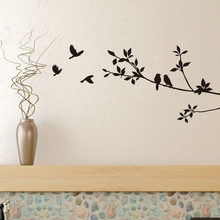 Birds On Tree Branches Vinyl Wall Decals Black Bird Sticker Mural Art Decal Room Home Decor Room Decoration Wallpaper(China)