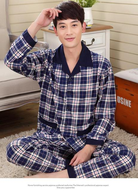 2015 new spring autumn men's fashonal lapel button cotoon long-sleeved casual cardigan knit Pyjamas Set