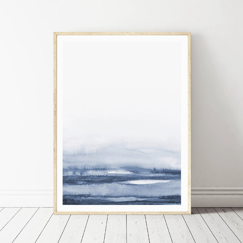 Watercolor Blue Canvas Painting Abstract Mountain Forest Art Prints And Poster Modern Simple Natural Picture Home Wall Art Decor
