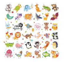 large cartoon kids iron patches for clothing cute small animals stickers on clothes funny children heat transfer baby deco