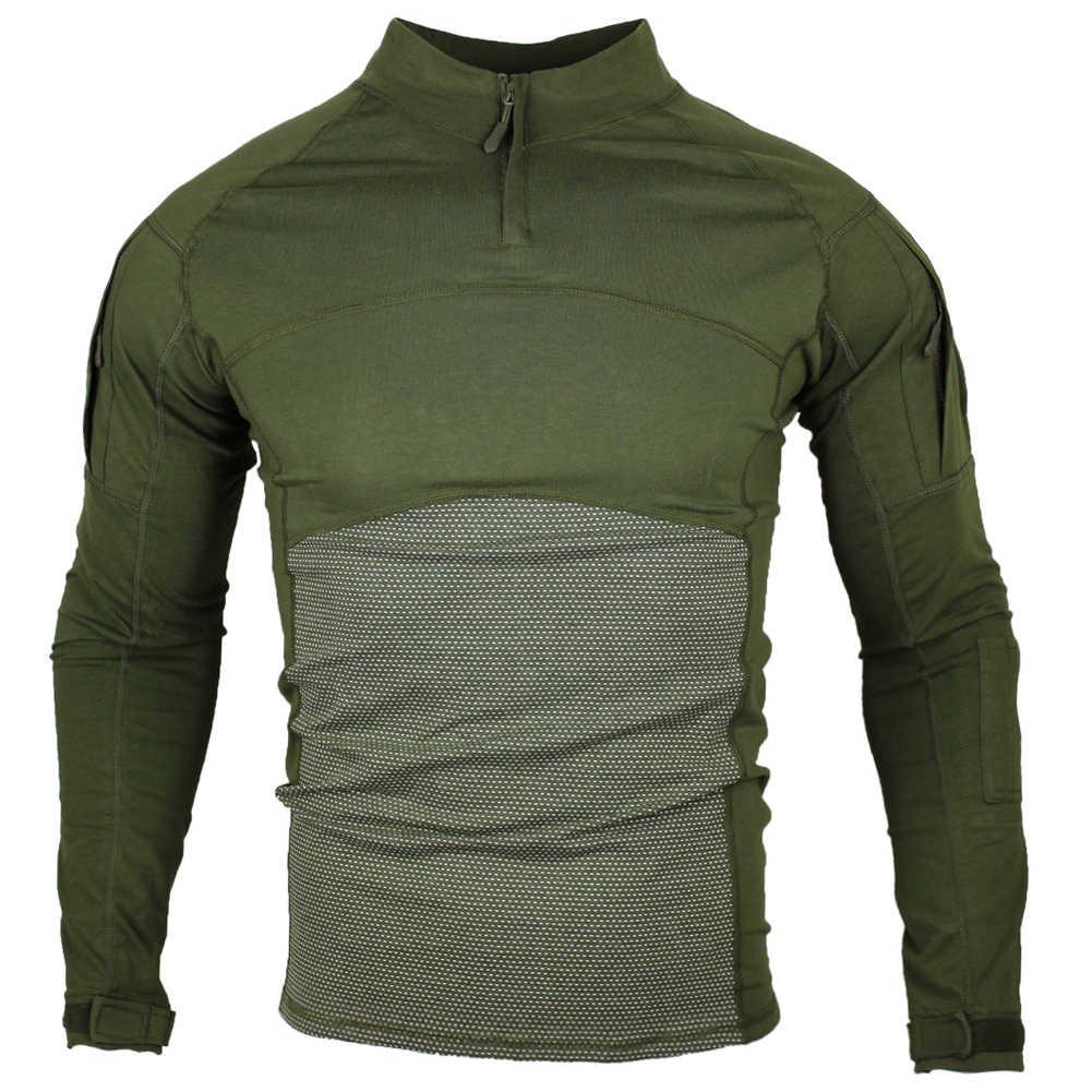 Tentara Militer Kaos Pria Lengan Panjang Kamuflase Taktis Kemeja Berburu Tempur Soldier Field T-shirt Lebih Tahan Dr
