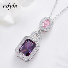 Cdyle cristales de Swarovski mujer colgantes y collares púrpura elegante GreenFashion joyería femenina regalo nuevo collar hermoso
