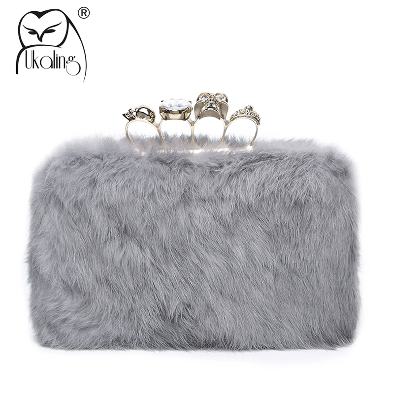 UKQLING Real Rabbit Fur Women Bag for Winter Party Evening Clutch Bag Day Clutches Ladies Purse Chain Crossbody Bags Handbag women banquet long clutch purse bag ladies chain crossbody shoulder bag genuine leather long wallet evening handbag day clutches