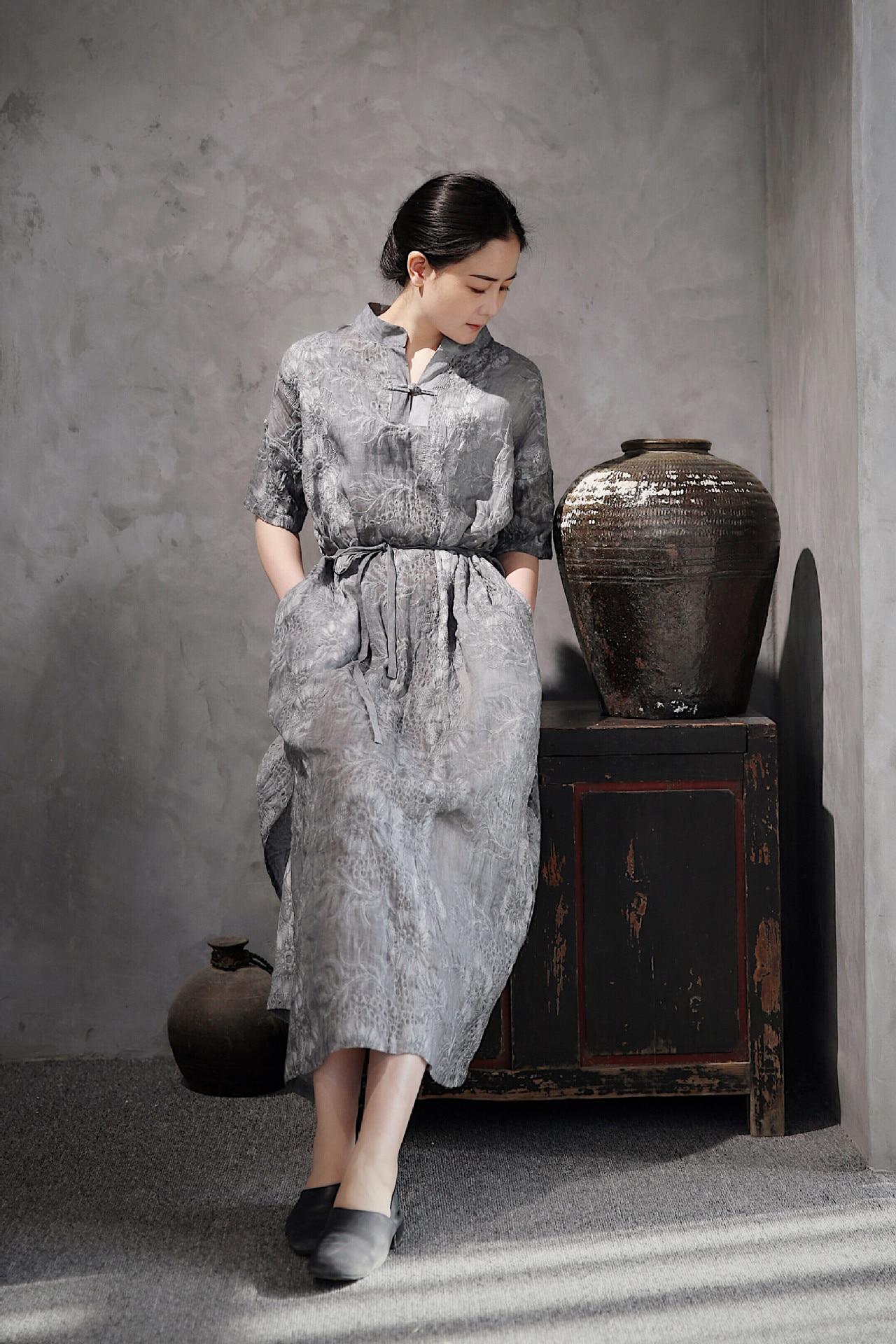 Blouses & Shirts Beautiful Blouse Original Chinese Style Womens Wear Literature Retro Irregularity Frenulum Simple Sackcloth Female Shirts N229