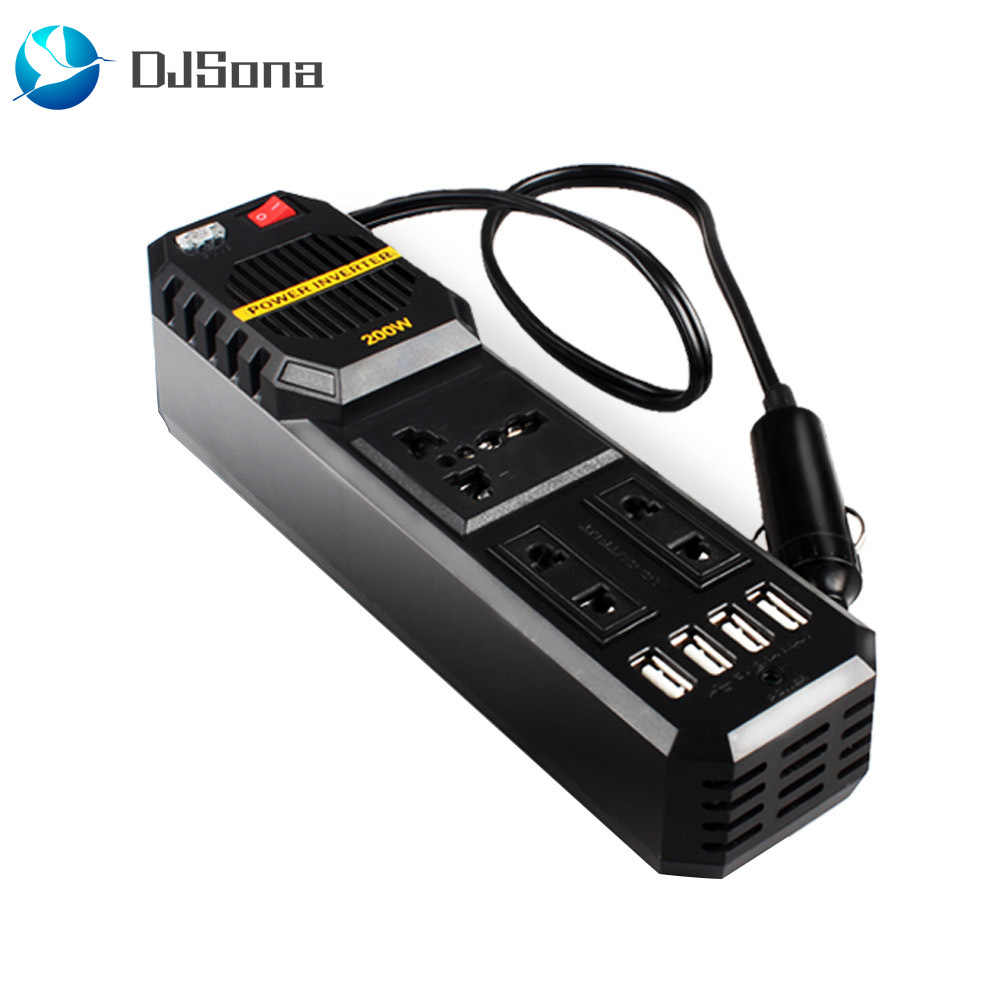 200 Watt Power Inverter Car Adapter 200 w watts car cigarette inverter 12 v to 220 volt dc to ac converter 4  usb 3.1a charger wave auto adapter voltage transformer