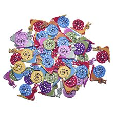 New Fashion Buttons Wood Buttons 50Pcs Multicolor Snails 2 Holes Random Mixed Sewing Buttons Scrapbook