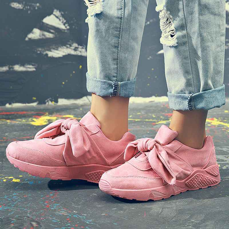 Sooneeya Vintage Silk Bow Tie Pink Sneakers Women Flats Butterfly Knot Bow  Shoes Women Soft Warm 9ba0ddcab
