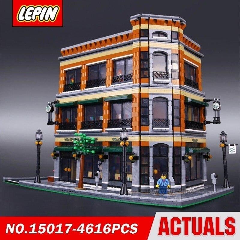 Lepin 15017 Starbucks Bookstore Cafe City Street Series Model Building Block Brick Kits Assembling Toys in stock new lepin 17004 city street series london bridge model building kits assembling brick toys compatible 10214
