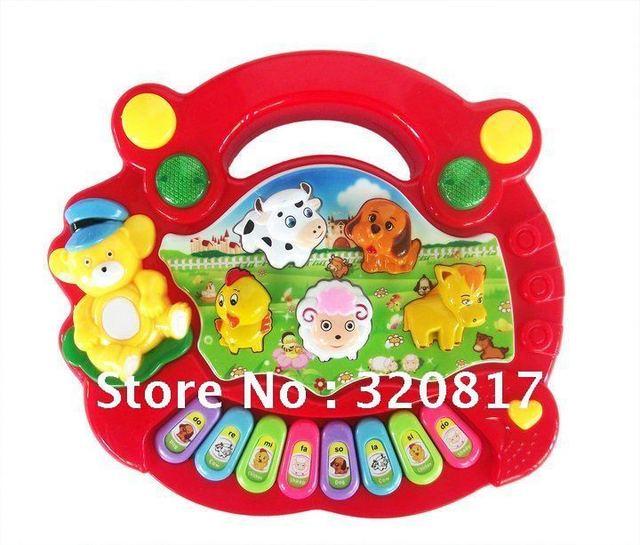 2 pcs/lot free shipping Cartoon animal farm music harp/educational electronic keyboard mini electroic keyboard childhood toys