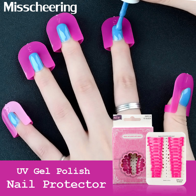 26 Pcs / Set Rose UV Gel Polish Protector French Nail Art Kasus Desain Tips Penutup Jari Perisai Anti-overflow Manicure Kit Alat