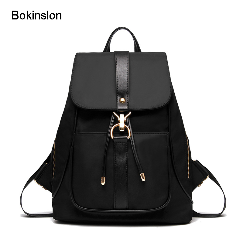 Bokinslon Travel Backpacks For Women Canvas Casual Female Backpack Solid Color Fashion Backpacks Ladies Bags