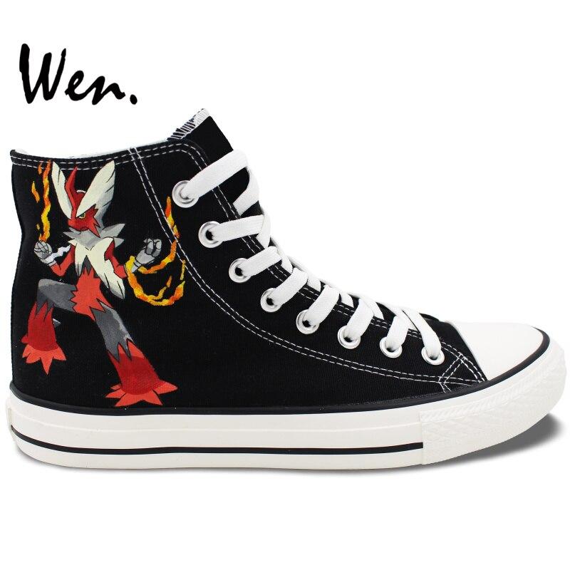 ФОТО Wen Hand Painted Black Shoes Design Custom Pokemon Blaziken Anime High Top Canvas Sneakers for Women Men