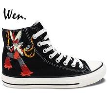 Wen Hand Painted Black Shoes Design Custom Pokemon Blaziken Anime High Top Canvas Sneakers for Women Men