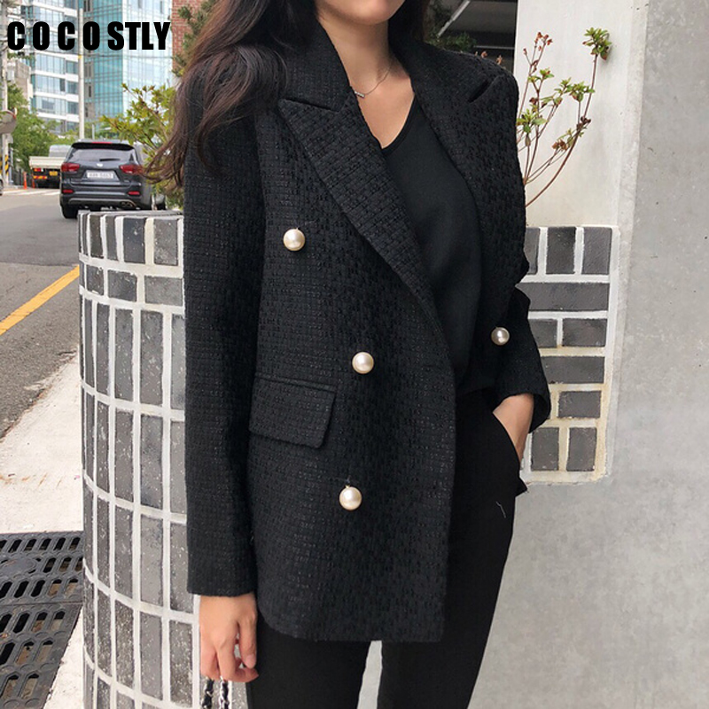 Blazer Women 2019 Double Breasted Spring Coat Woman Blazers Feminino Casual Work Suit Long Sleeve Jacket Mujer Chic Cotton