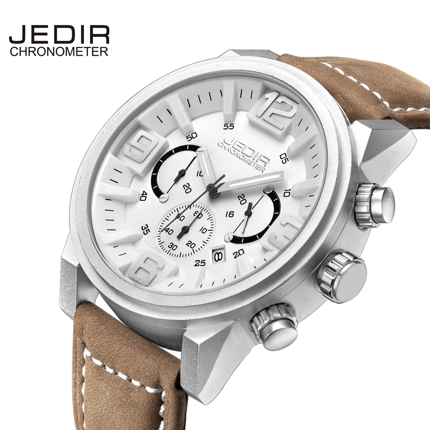Mens watches leather band From JEDIR Top Brand Luxury waterproof watch Man Clock commercial Male wristwatch jedir brand men watch number