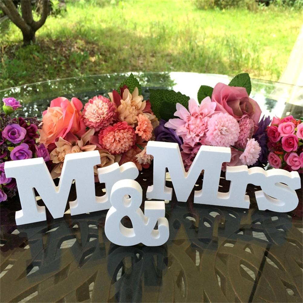 Adeeing белый мистер и миссис буквы знак стоял деревянный стол Опора Свадебные украшения питания