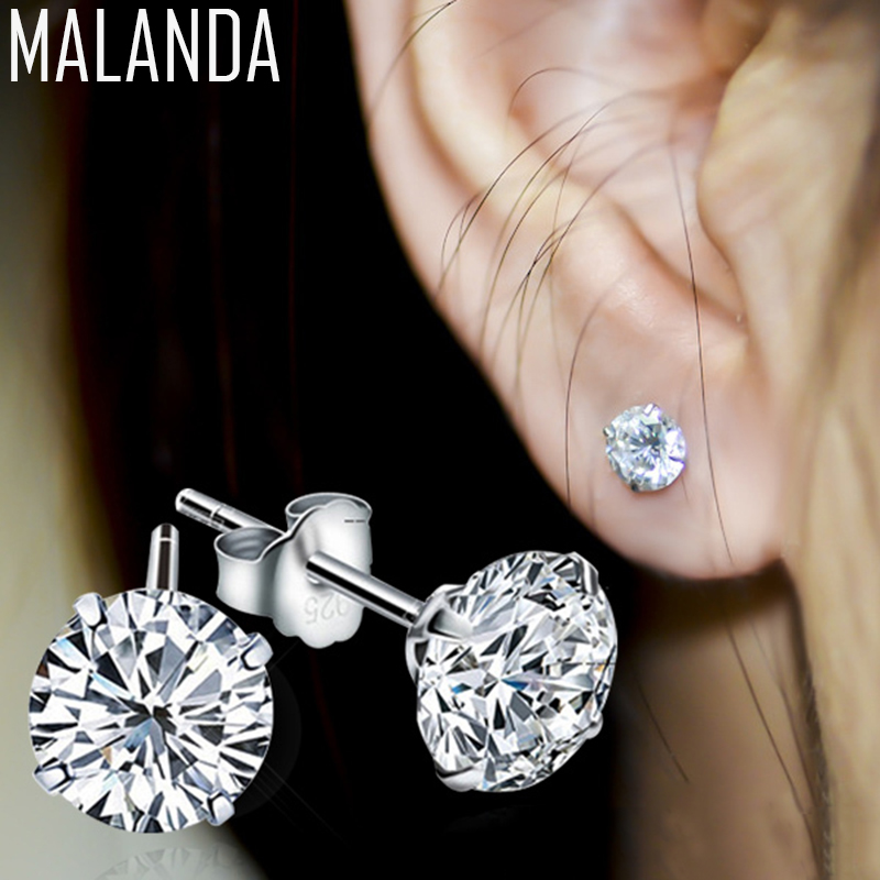 MALANDA Brand 2018 New Fashion Real 925 Sterling Silver Women Stud Earrings Wedding Jewelry White Zircon Earrings For Women Gift