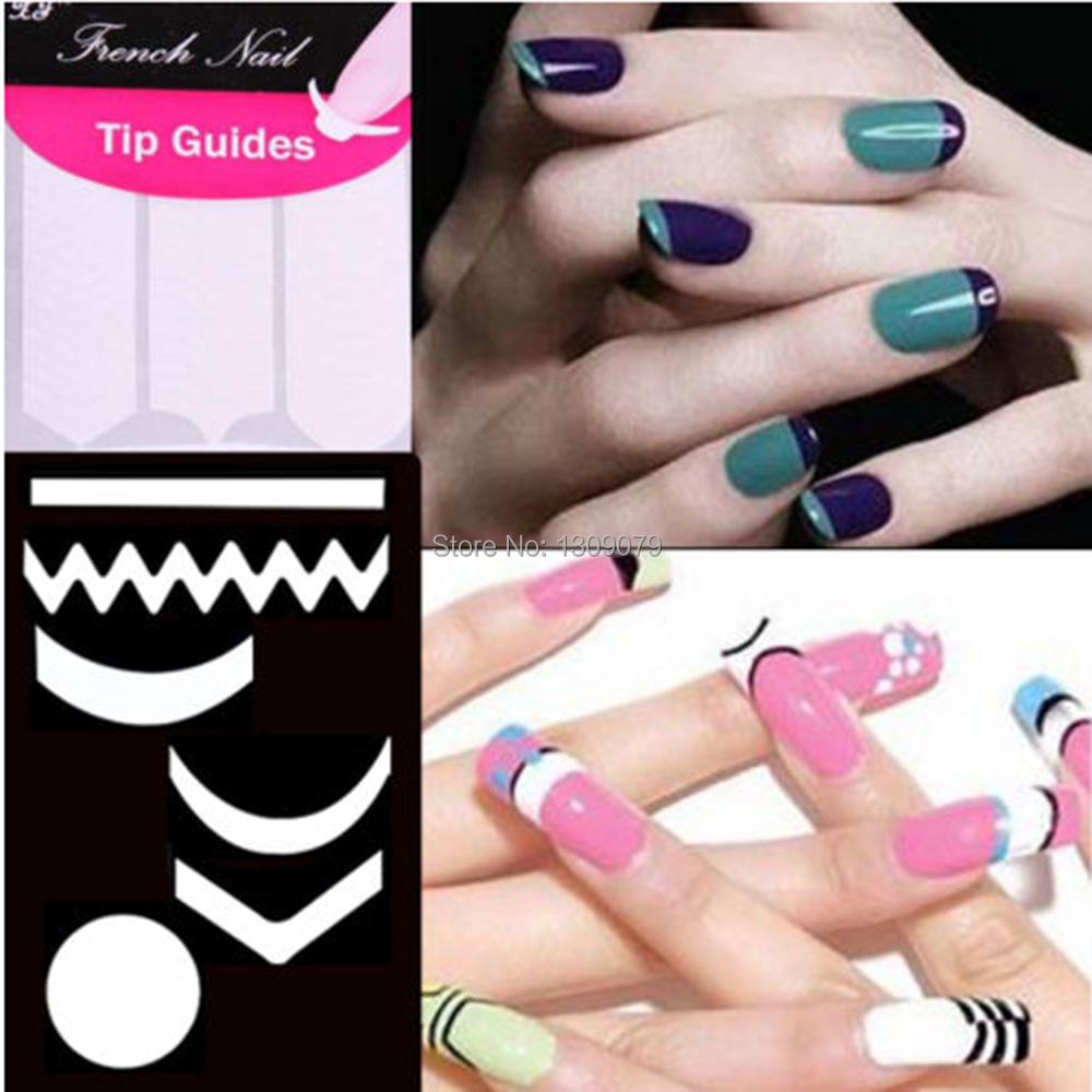 New chic diy 18 style french manicure nail art tips tape sticker new chic diy 18 style french manicure nail art tips tape sticker guide stencilnail art tips form fringe stickerseasy to apply in stickers decals from prinsesfo Choice Image