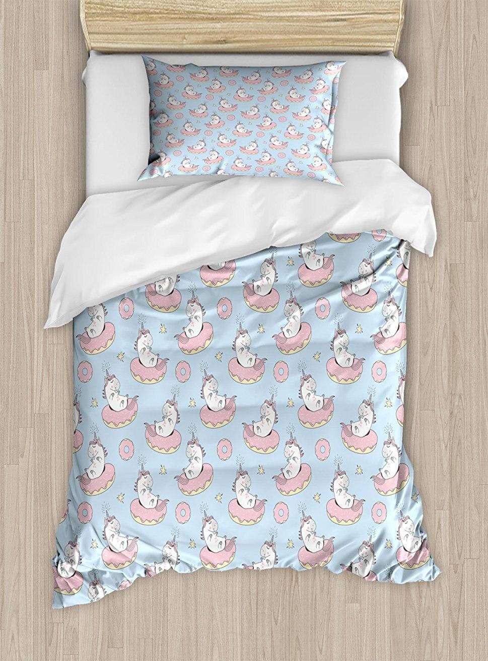 Unicorn Bedroom Set: Unicorn Party Duvet Cover Set, Cartoon Mythical Animals