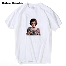 Movie The Professional Leon Matilda T shirt Men Summer Short Sleeve Top Tees Girl With Gun Printed 100% Cotton T-shirt Clothing