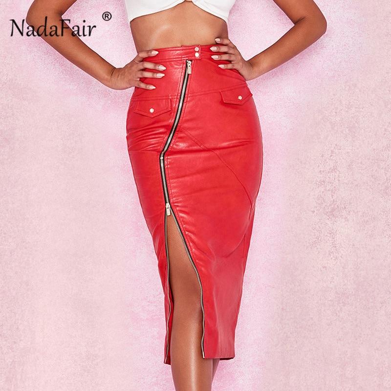 Nadafair red pu leather skirts women high waist zipper split bodycon club  midi winter skirts female asymmetrical pu pencil skirt 28821a77846f
