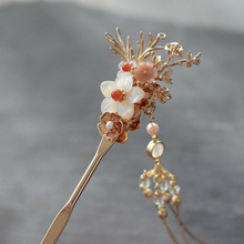 цены Vintage Style Women Hairpins Lotus Flower Hair Sticks Wedding Hair Accessories Elegant Pin Colorful Hairpin Crystal Hair Stick