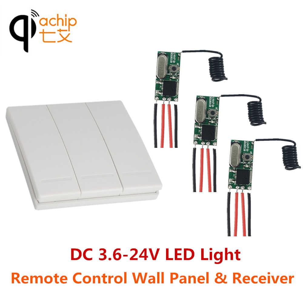 QACHIP 3pcs 433MHz DC 5V 12V 24V MINI LED Light รีเลย์รีเลย์กับ 3CH แผงสวิทช์เครื่องส่งสัญญาณ