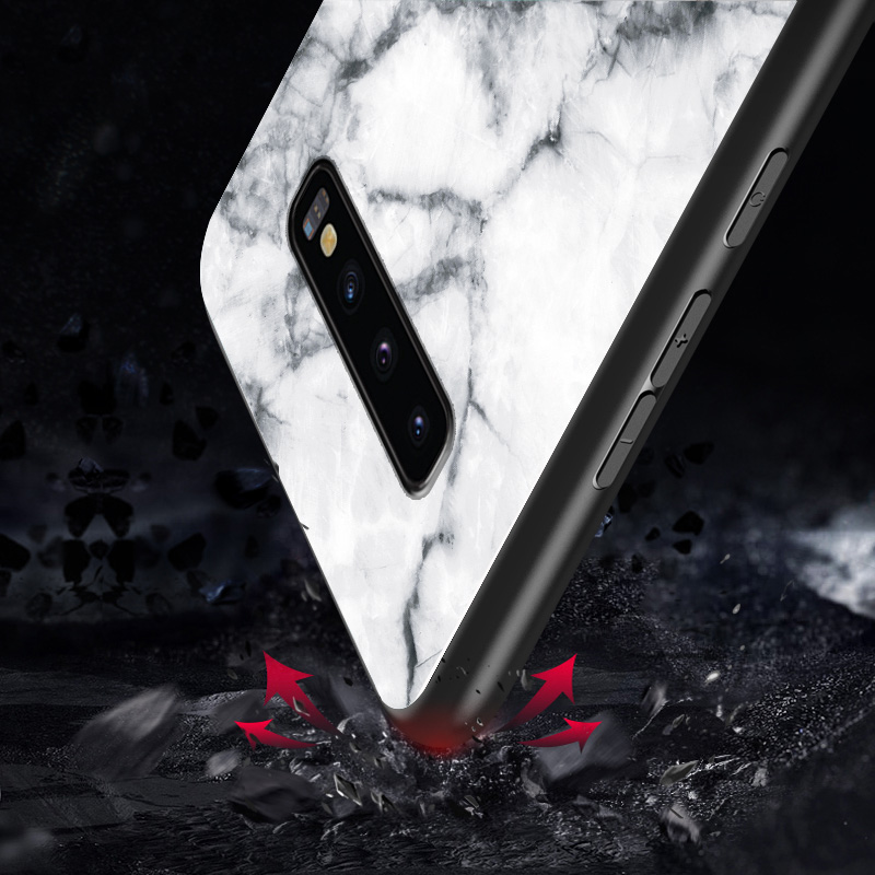 Image 4 - For Samsung Galaxy S10 Case UYFRATE Ultra Slim Smooth Marble Tempered Glass Cover Funda For Samsung Galaxy S10 S10 Plus S10e-in Fitted Cases from Cellphones & Telecommunications