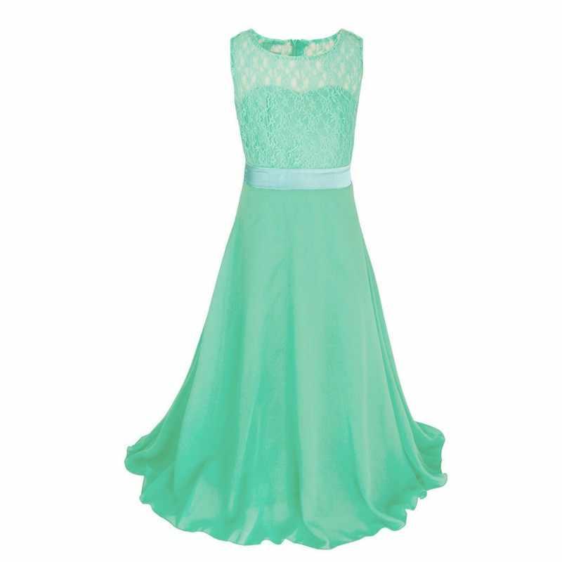 2018 קיץ בנות ילדי שמלת מסיבת ילדה תחרה שיפון ארוך נסיכת Dresskids בגדי גיל 5 6 7 8 9 10 11 12 13 שנים
