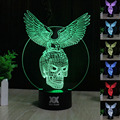 Creative 3D illusion Lamp LED Night Light The Expendables Eagle Skull Design Novelty Acrylic Discoloration Atmosphere Lamp