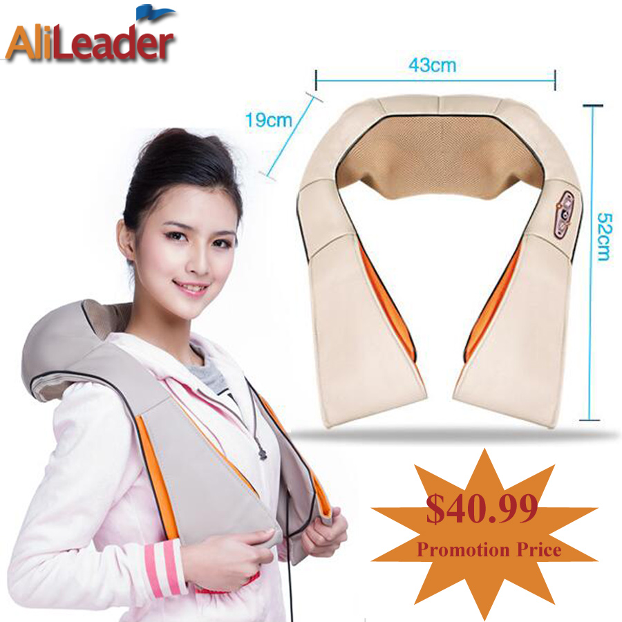 Home And Car Dual-Use Infrared Heating Massage Pillow 4D Shiatsu Kneading Neck Shoulder Back Foot Body Massager Electric