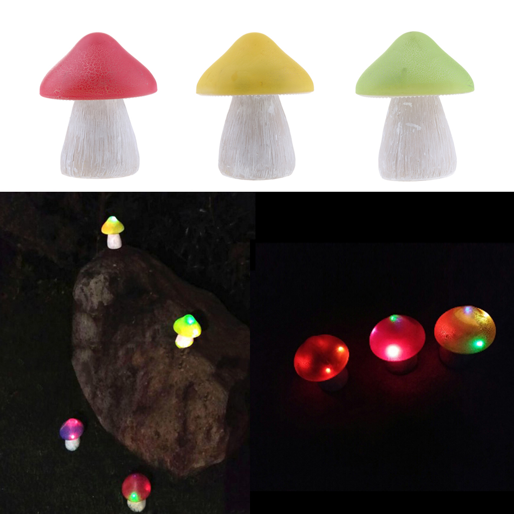 3-Piece Solar Powered Resin Mushroom Outdoor LED Landscape Lighting Sets For Yard Garden, Patio, Backyard