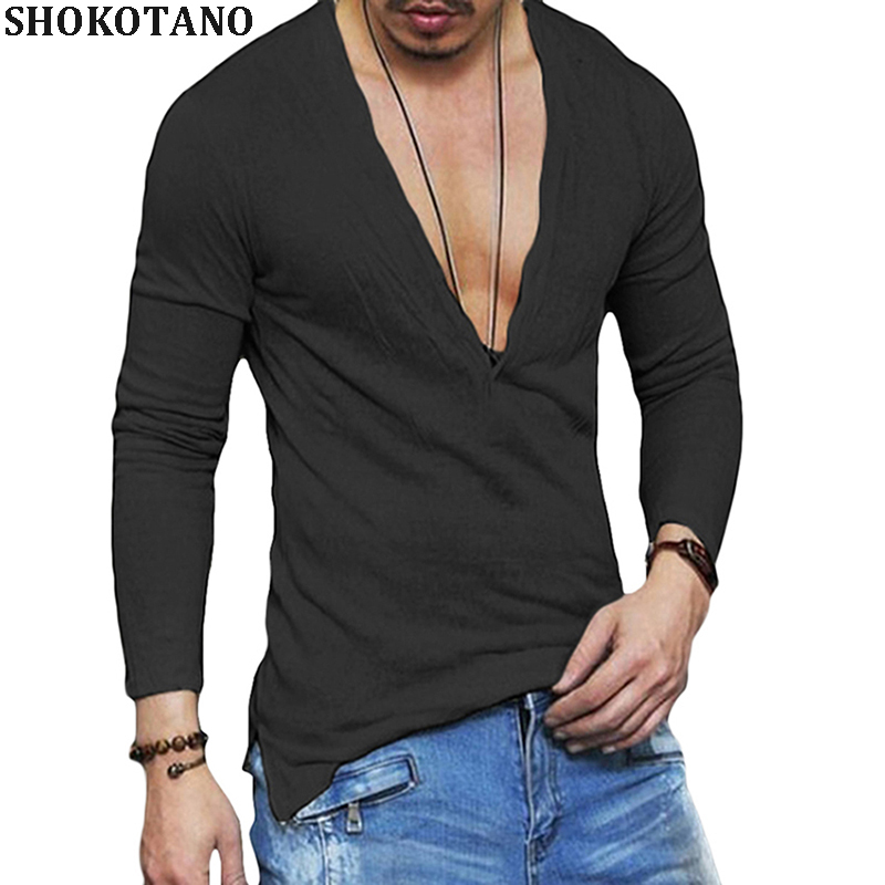 SHOKOTANO Men Transparent Solid T Shirt Deep V Slim Fit Skinny Tshirt Hip Hop Long Sleeve Hipster T-Shirt Fashion Tops Tee 2018
