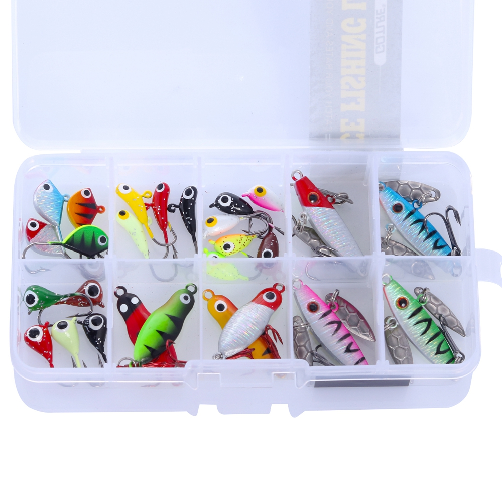 Goture 27 PCS/Box Ice Fishing Baits Jig Wobbler Winter Fishing Metal Spoon Hard Lure Pesca Tackle goture ice fishing baits metal jig drop jig grub spoon 0 6 6 2g hard artificial bait carp fishing accessories lure box 40pcs