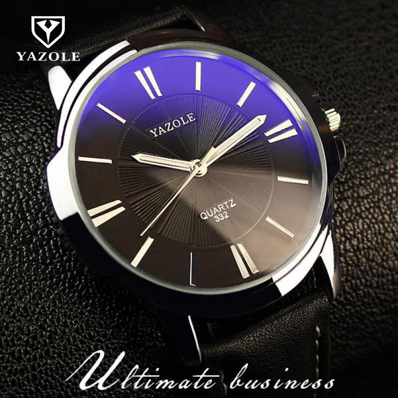 100 Original YAZOLE Luxury Blue Ray Shockproof Genuine Leather Round Dial Dress Quartz Wristwatch Watch for