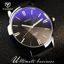 100% Original YAZOLE Rayo Azul de Lujo A Prueba de Golpes de Cuero Genuino Dial Redondo Vestido Reloj de Cuarzo Reloj de pulsera para Hombres Masculina No. 332